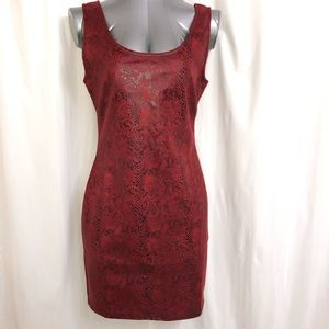 FASHION NOVA Red Snake Print Bodycon Dress